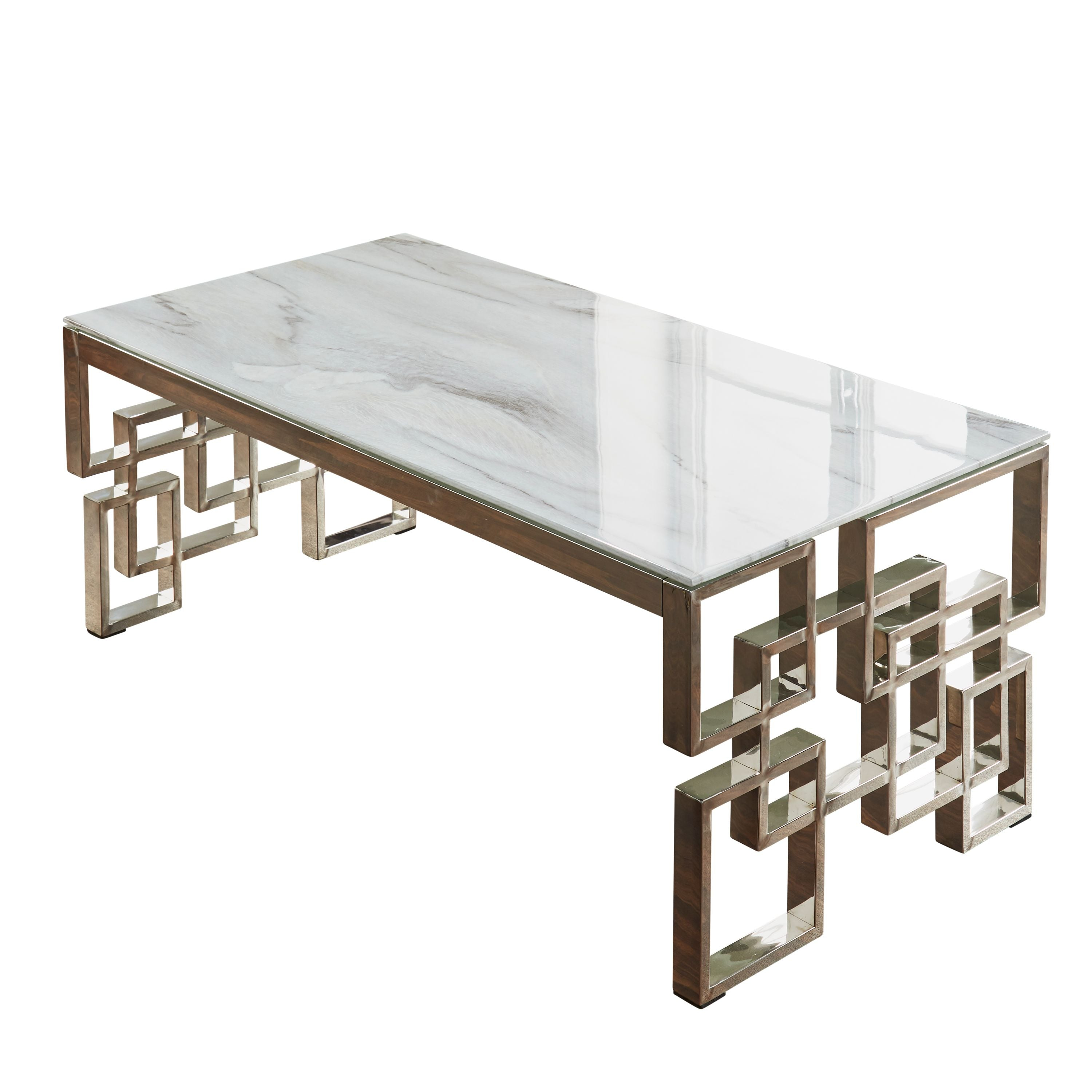 Marble Glass Silver Coffee Table
