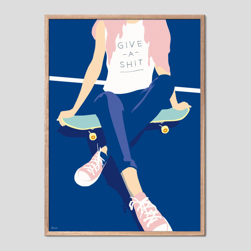 Give A Shit Skater Girl Poster
