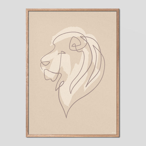 Majestic Lion - Single Line Poster