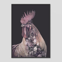 Load image into Gallery viewer, Burgundy Rooster - Faunascapes Flower Portrait
