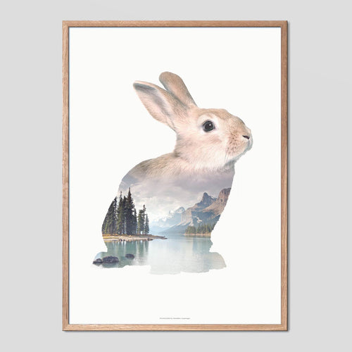 Rabbit - Faunascapes Double Exposure Poster