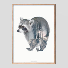 Load image into Gallery viewer, Raccoon - Faunascapes Double Exposure Poster