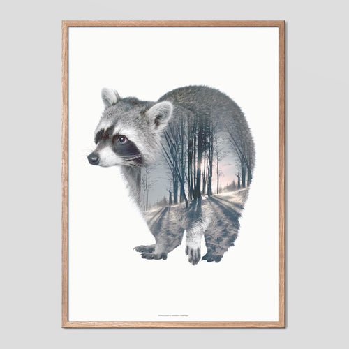 Raccoon - Faunascapes Double Exposure Poster