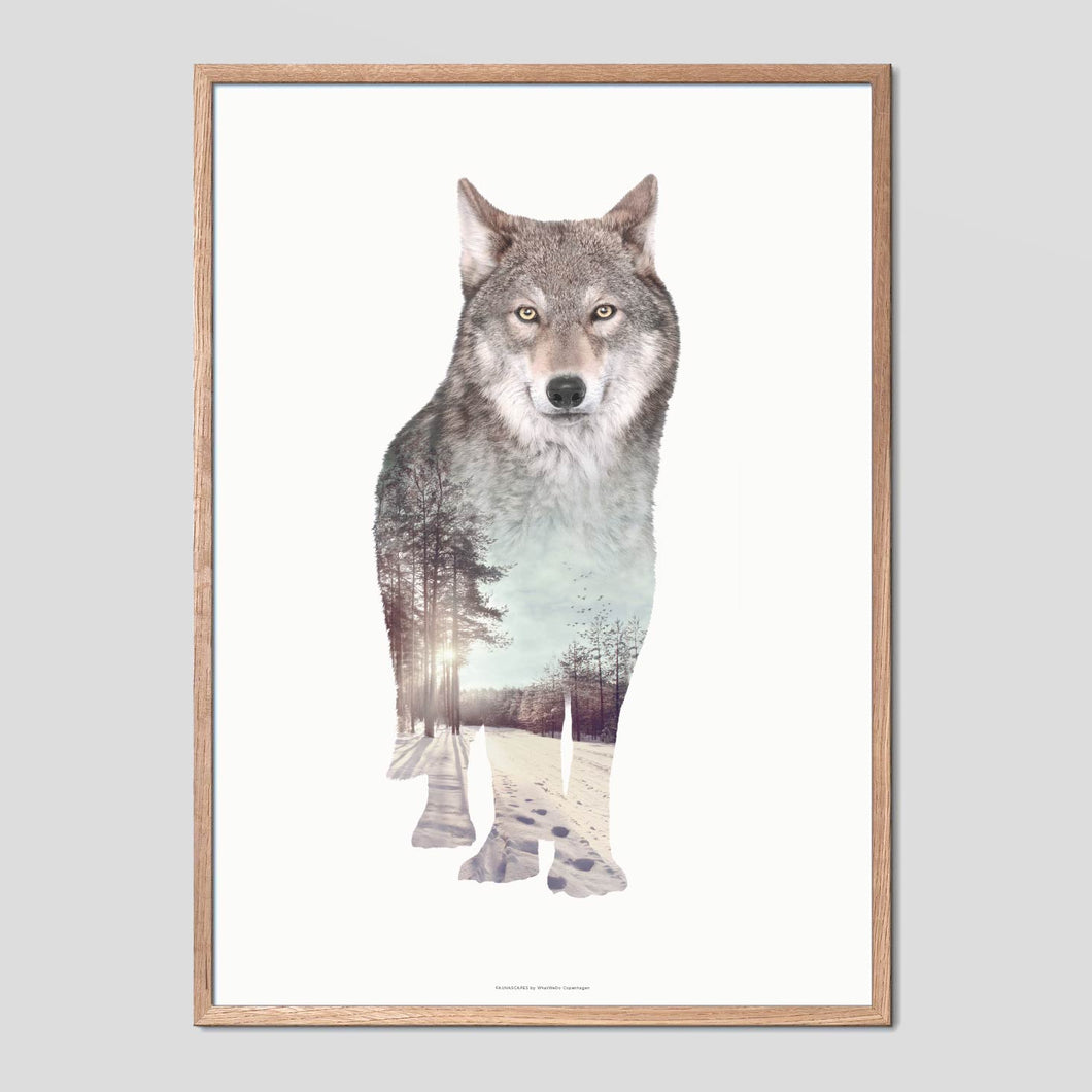 Wolf - Faunascapes Double Exposure Poster