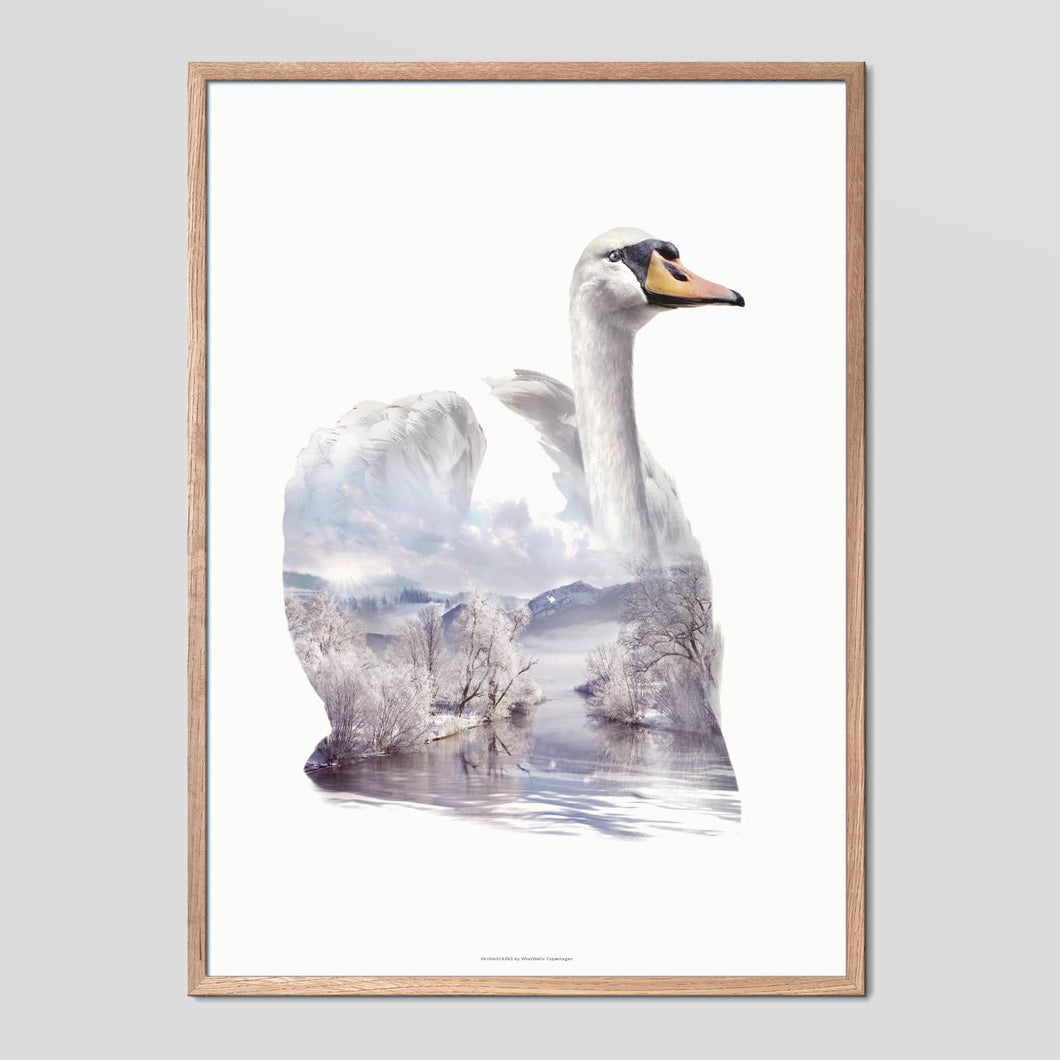 Swan - Faunascapes Double Exposure Poster