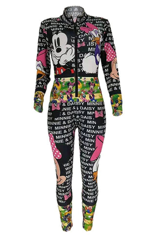 Fashion Cartoon Print Multicolor Jumpsuits