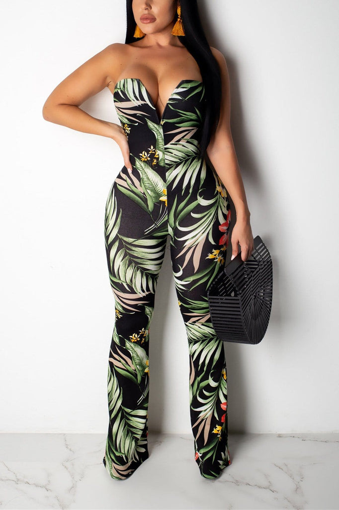 Sexy Print Strapless Tight-Fitting  Jumpsuit