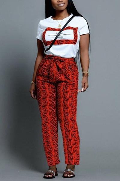 Fashion Snakeskin Print Short Sleeve Trousers Set