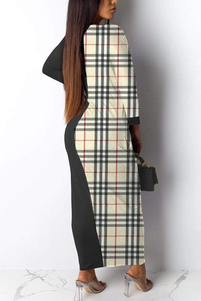 Fashion Plaid Print Stitching Dress