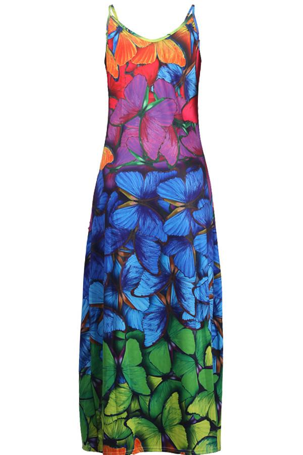 Fashion Rainbow Butterfly Printing Sling Dress
