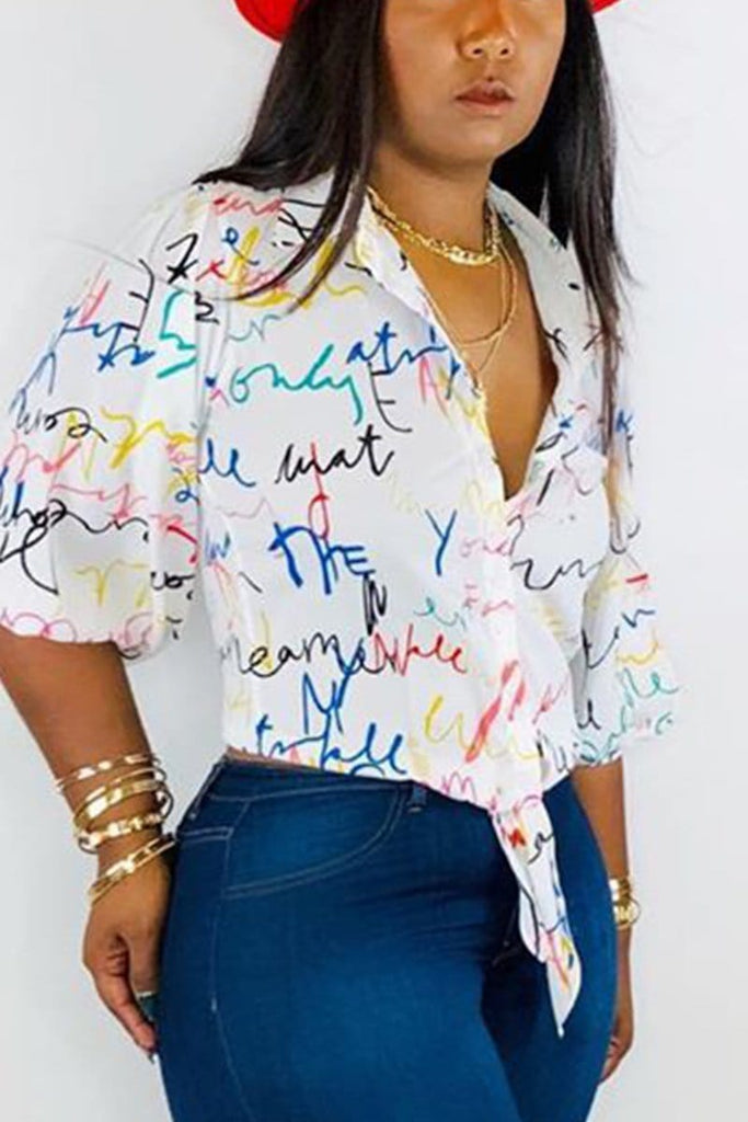 Fashion Casual Print Irregular Top Shirt