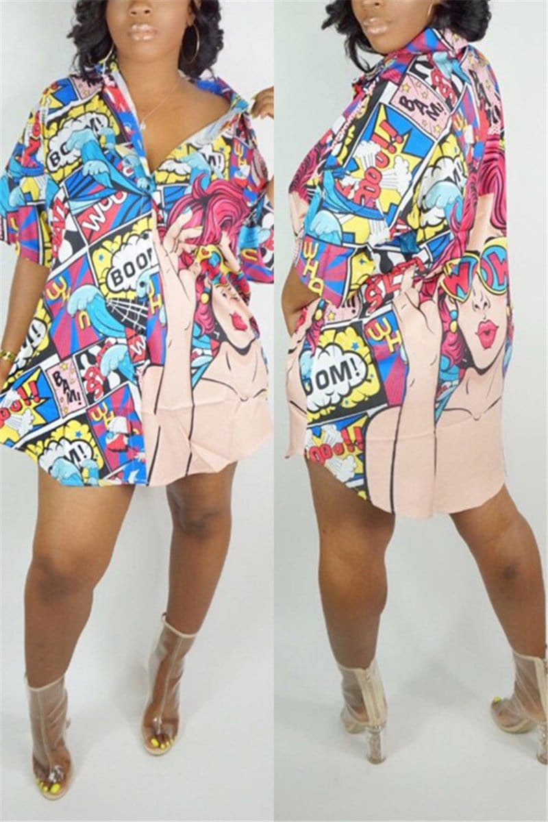 Fashion Casual Print Shirt Dress