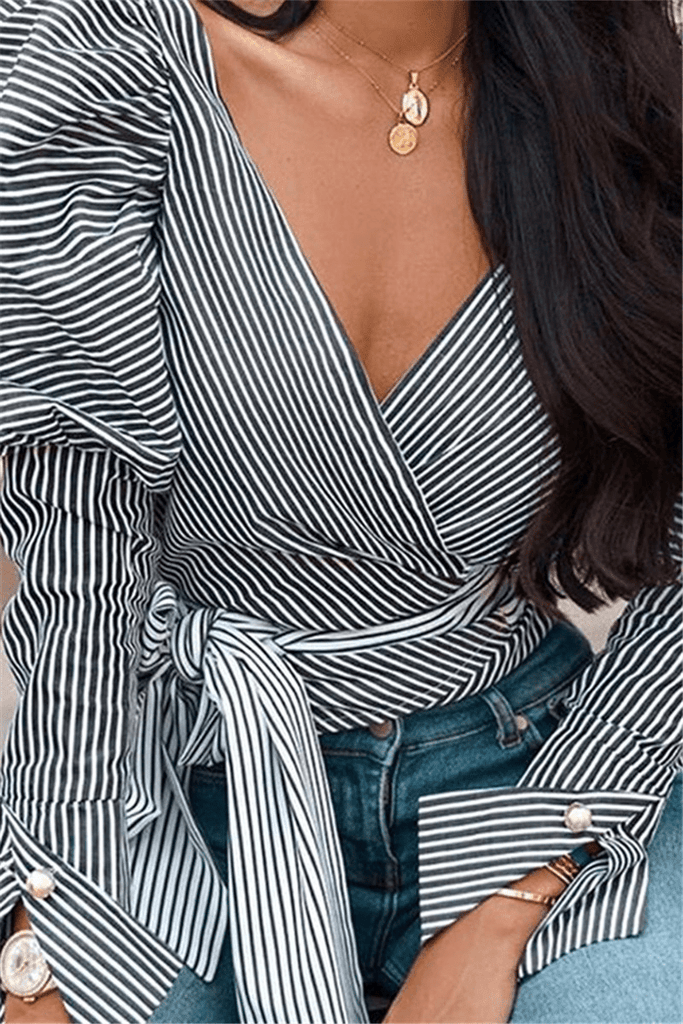 Fashion V Neck Striped Shirt