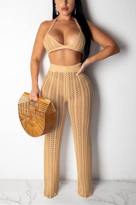 Fashion Sexy Mesh Knit Two-Pieces Set - VogueRegion