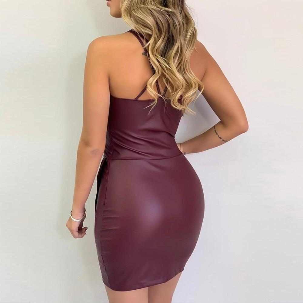 Sexy Low-Cut Sling V-Neck Tight-fit  Dress