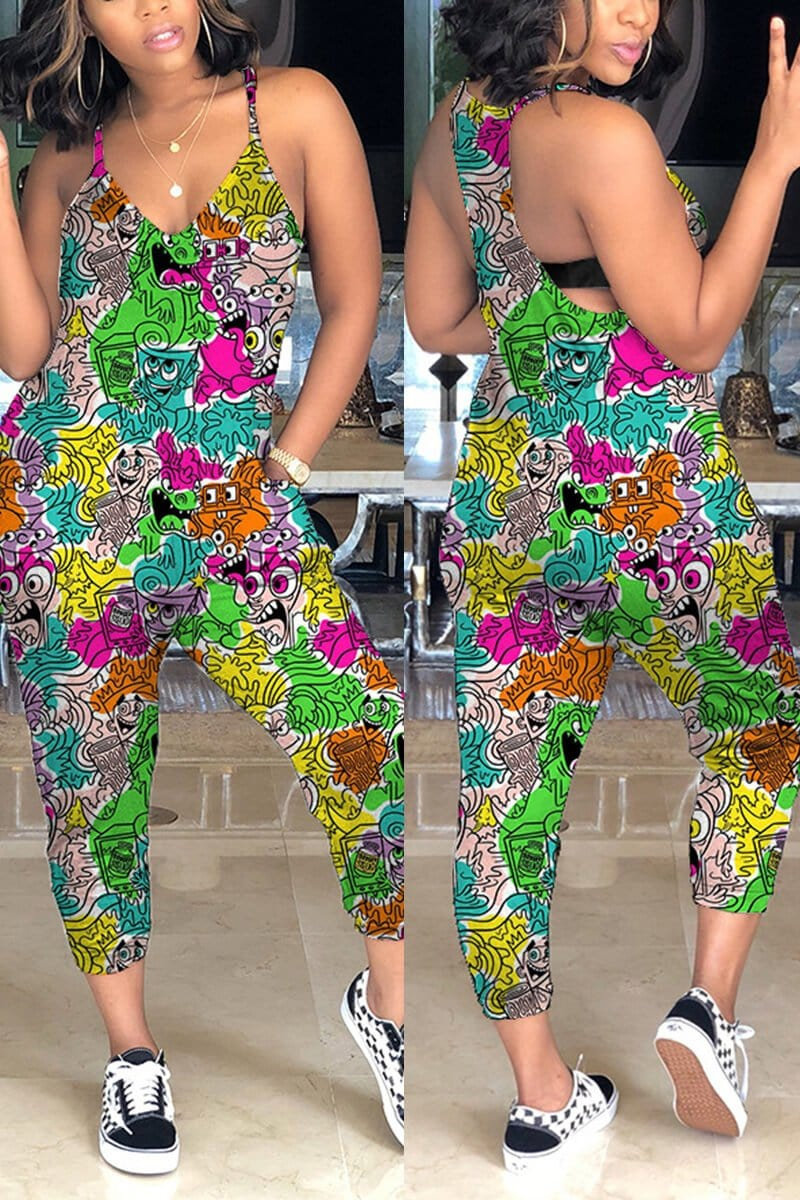 🔥Fashion Casual Printing Sleeveless Jumpsuit
