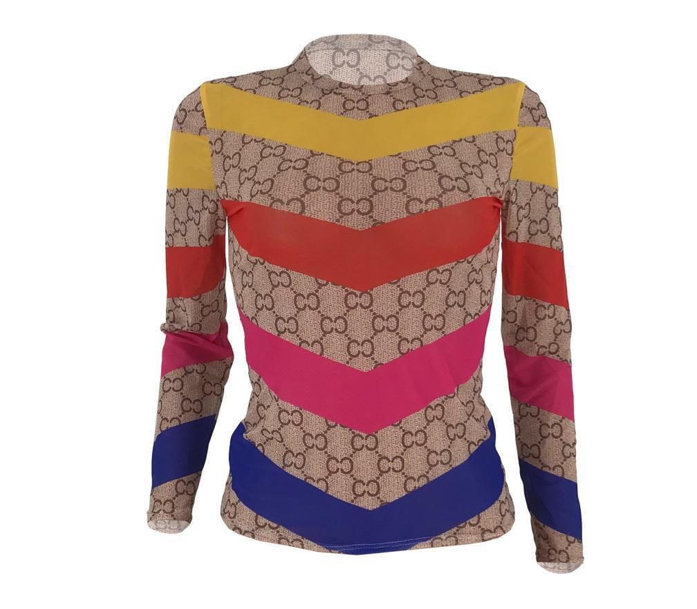Fashion Casual Patchwork Mesh Top