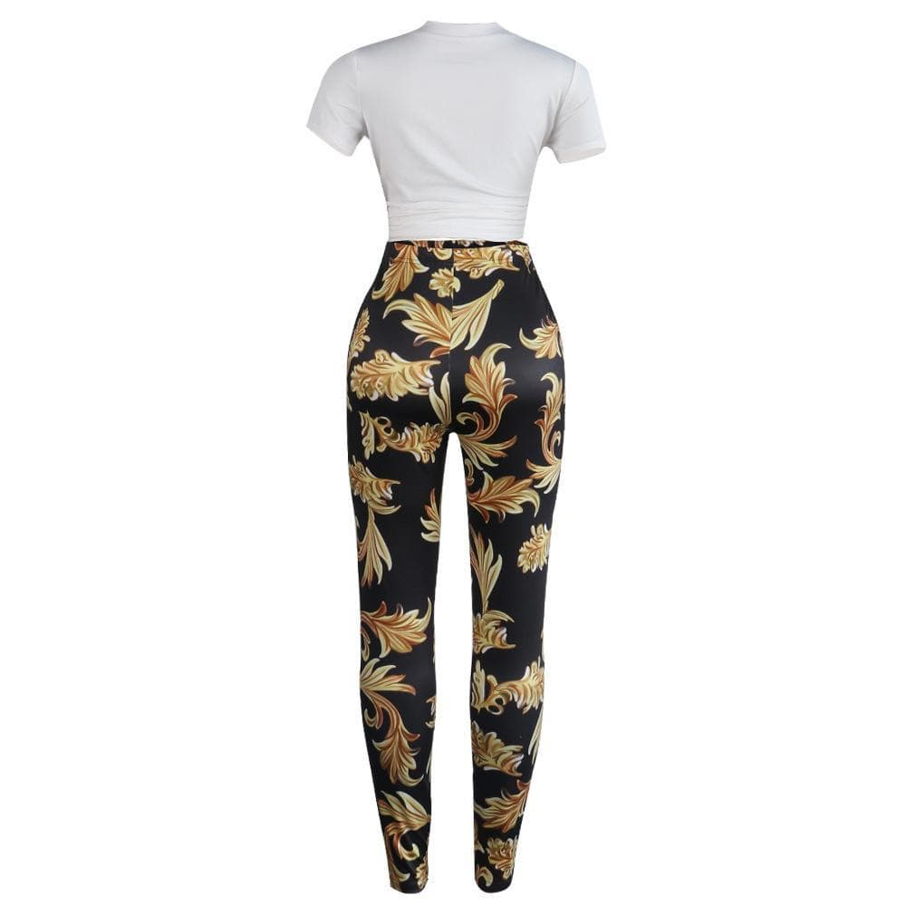 Sexy T-Shirt Slim-Fit Trousers Two-Pieces