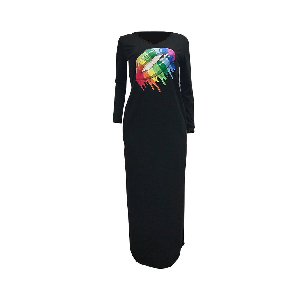 Fashion Rainbow Lips Offset Split Dress