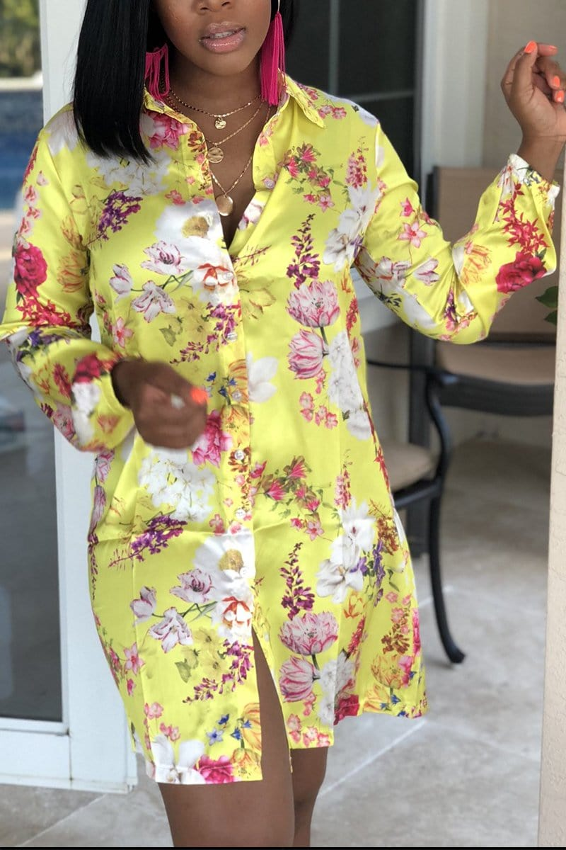 Floral Long Sleeve Shirt Dress - VogueRegion