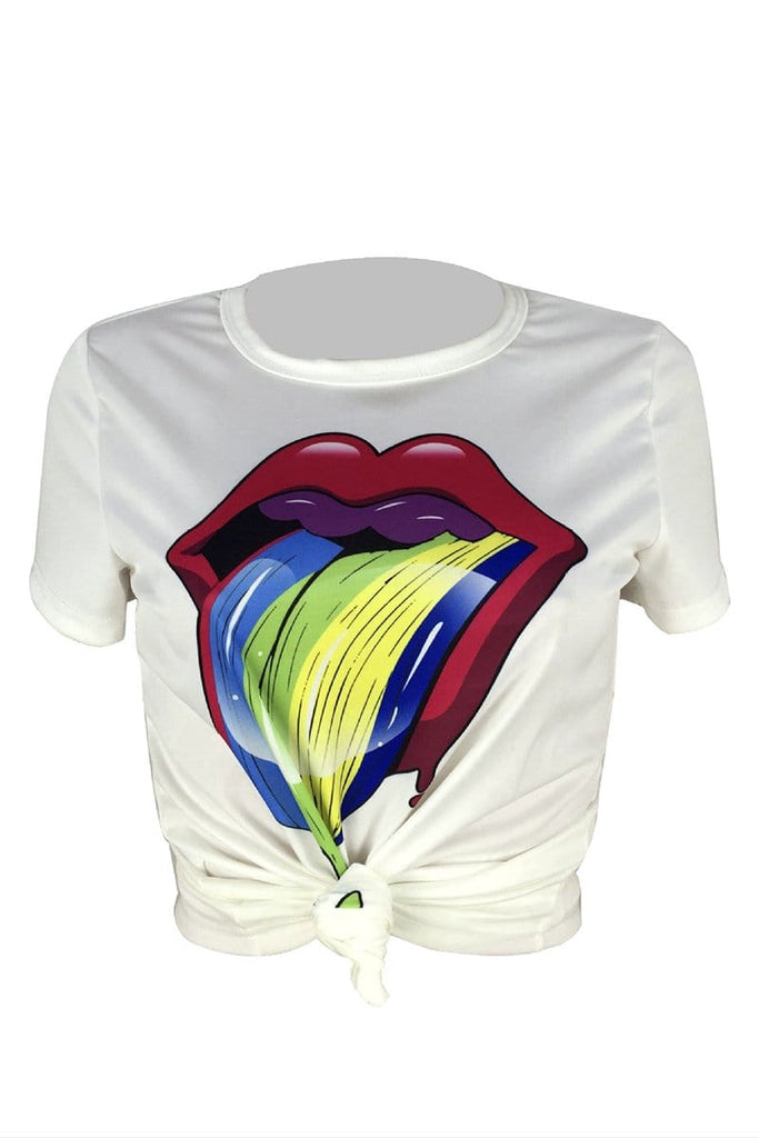 Casual Lip Print Short Sleeve T-Shirt