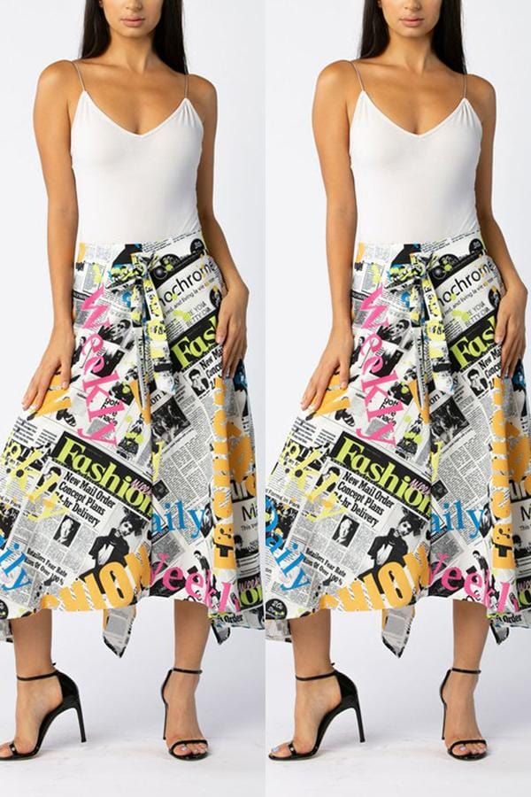 Fashion Casual Printing Irregular Skirt - VogueRegion