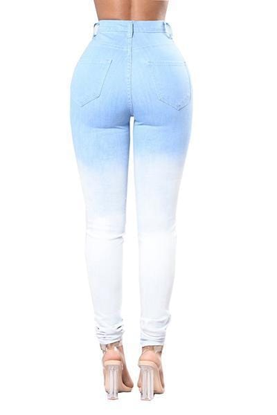 VogueRegion denim Solid Zipper Fly High Regular Pants Jeans - VogueRegion