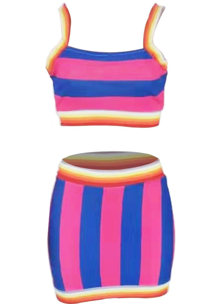 Fashion Print Cute Striped Skirts Set