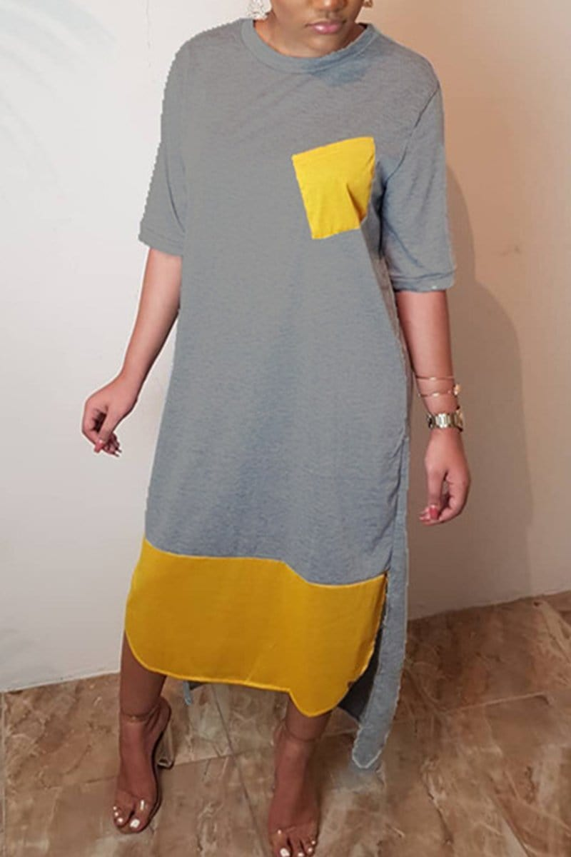 Fashion Stitching Loose Short Sleeved Dress