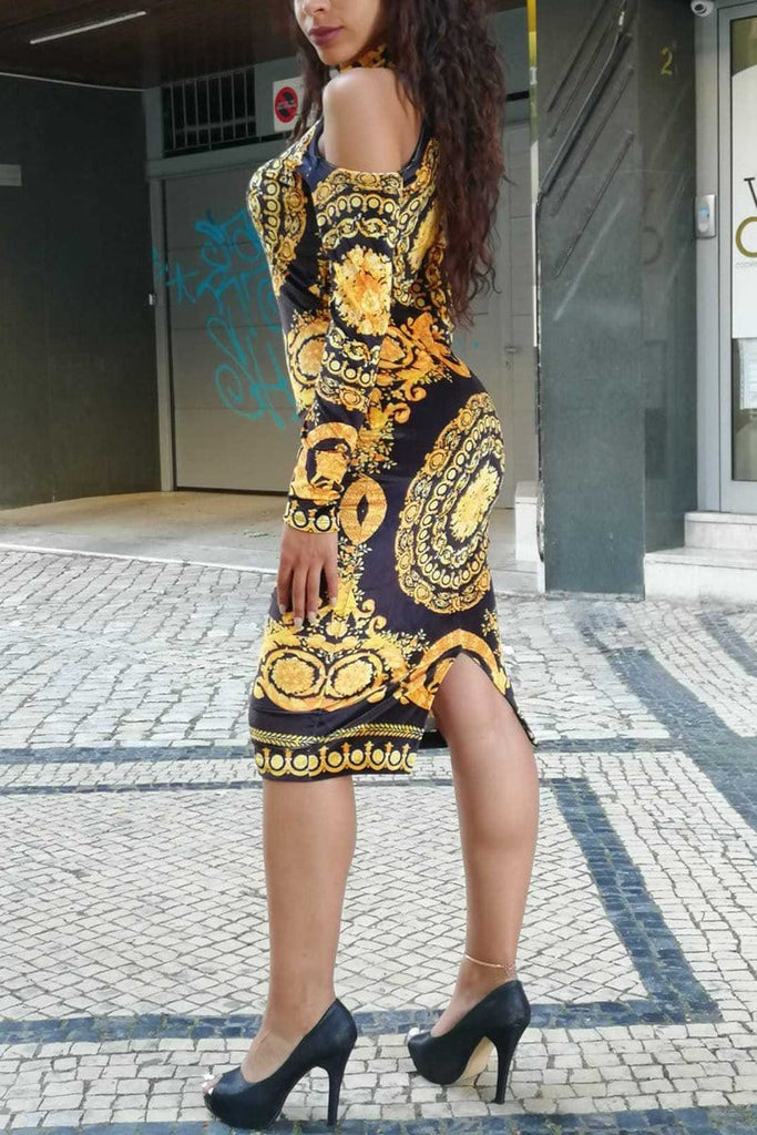 Fashion Sexy Printing Off Shoulder Dress