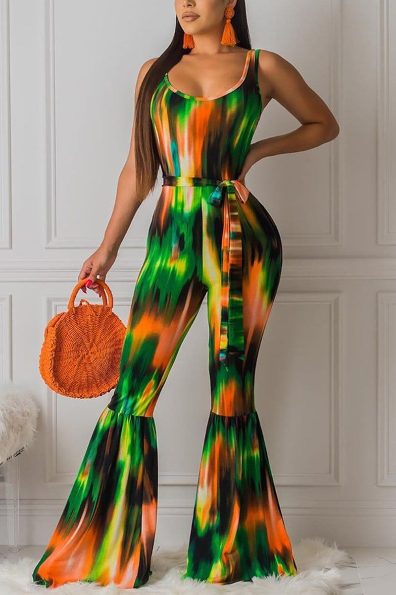 Sexy Color Printing Trumpet Jumpsuit