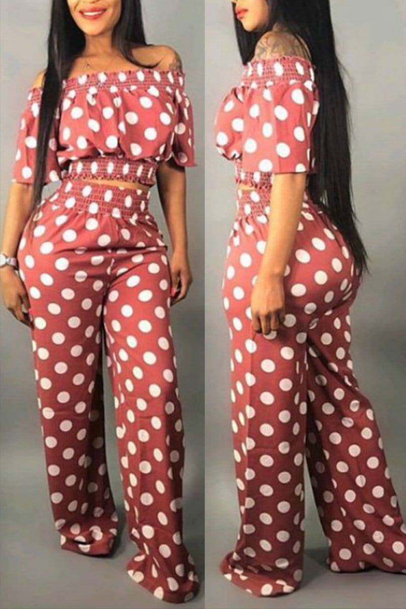 Fashion Dot Printed Pants Set - VogueRegion