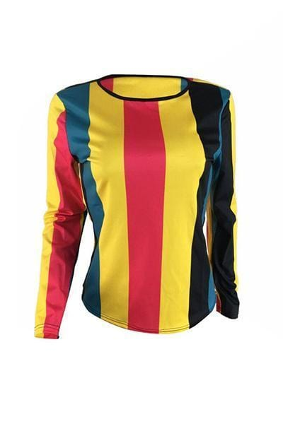 VogueRegion Casual Striped Multicolor T-shirt - VogueRegion
