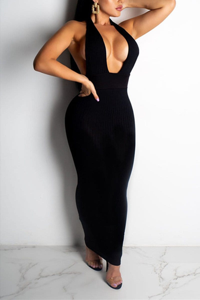 Sexy Sleeveless Deep V-neck Long Dress