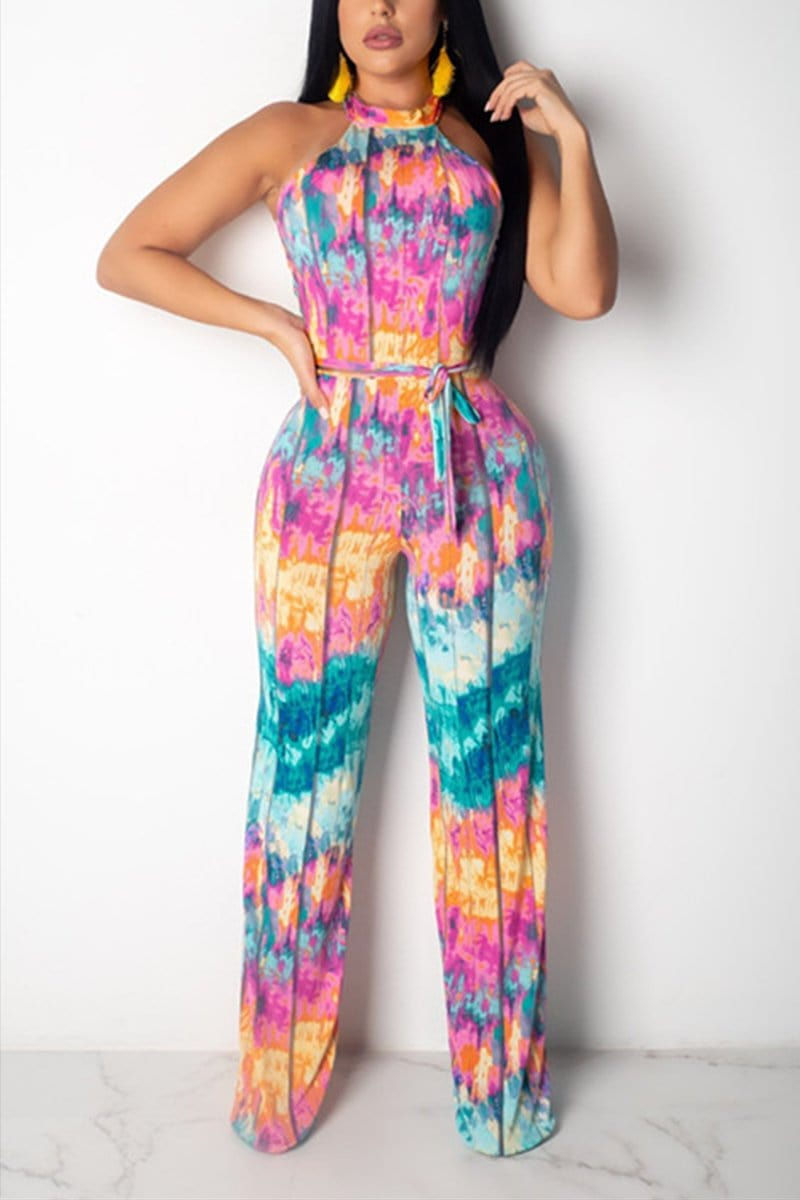 Sexy Printed Sleeveless Jumpsuit