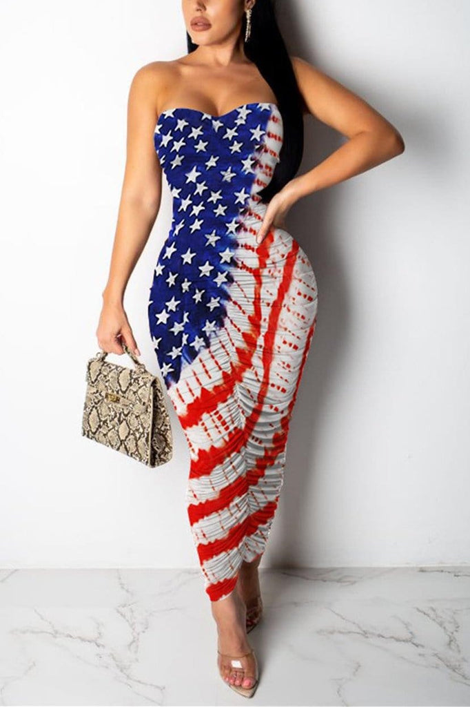 Sexy Flag Pleated Multicolor Dress