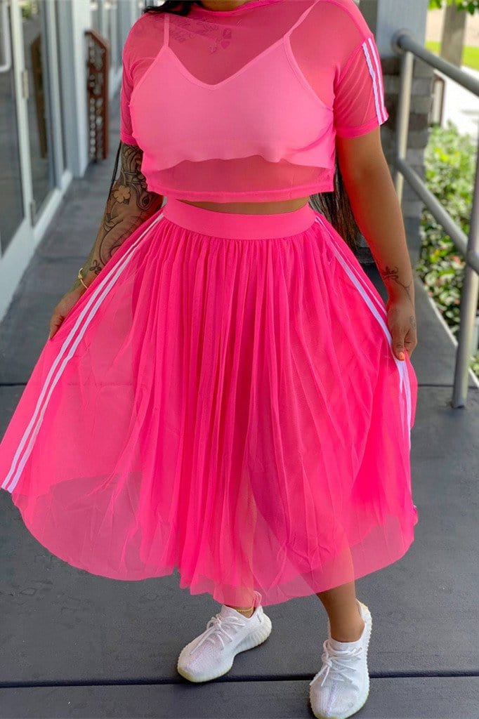 Fashion  Mesh Short-Sleeve Top Skirt Two-Pieces - VogueRegion