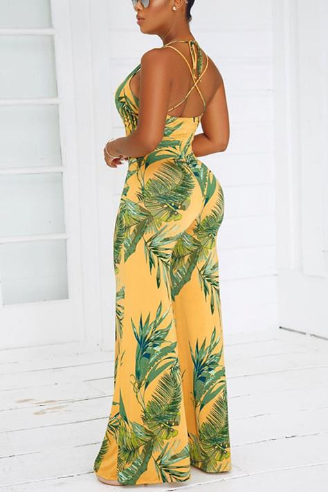 Sexy Print Backless Yellow Jumpsuits