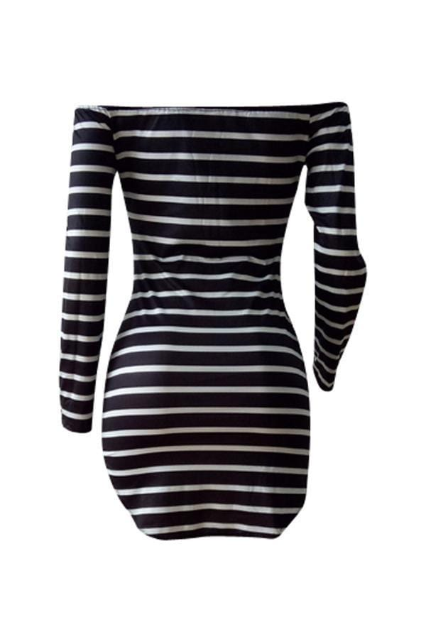 Euramerican Dew Shoulder Striped Milk Fiber Sheath Mini Dress - VogueRegion