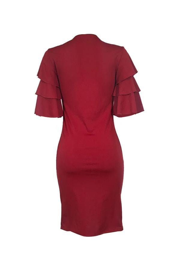 Sexy Ruffle Sleeves Wine Red Knee Length Dress - VogueRegion