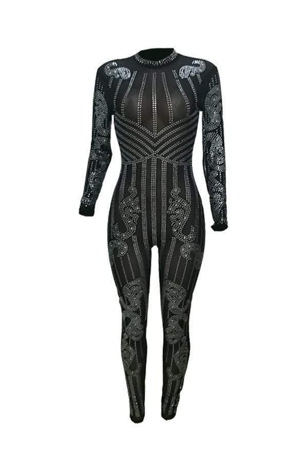Sexy See-Through Hot Drilling Decorative Jumpsuits