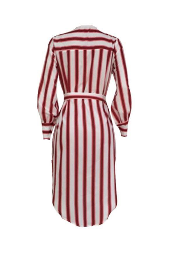 Striped Side Slit Mid Calf Dress(With Belt) - VogueRegion