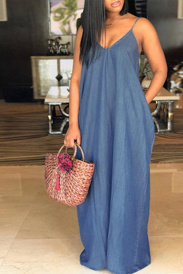 V Neck Blue Denim Floor Length Dress