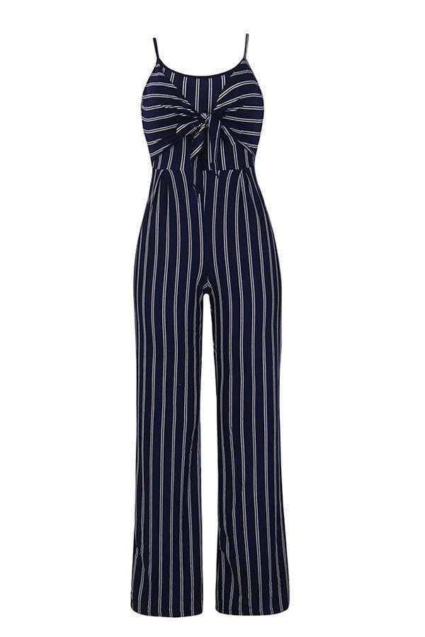 Euramerican Striped One-piece Jumpsuit