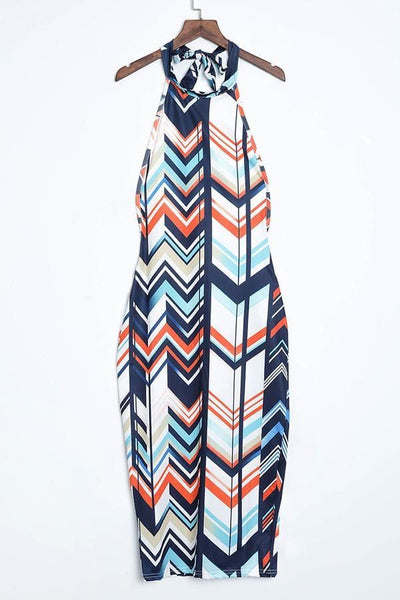 Round Neck Striped Dress - VogueRegion