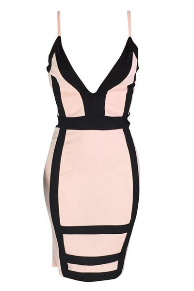 Deep V Neck Patchwork Knee Length Dress - VogueRegion