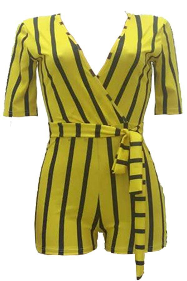 VogueRegion Casual Striped Yellow Twilled Satin One-piece Rompers - VogueRegion