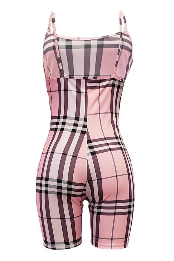 VogueRegion Casual Grids Printed Skinny One-piece Rompers - VogueRegion