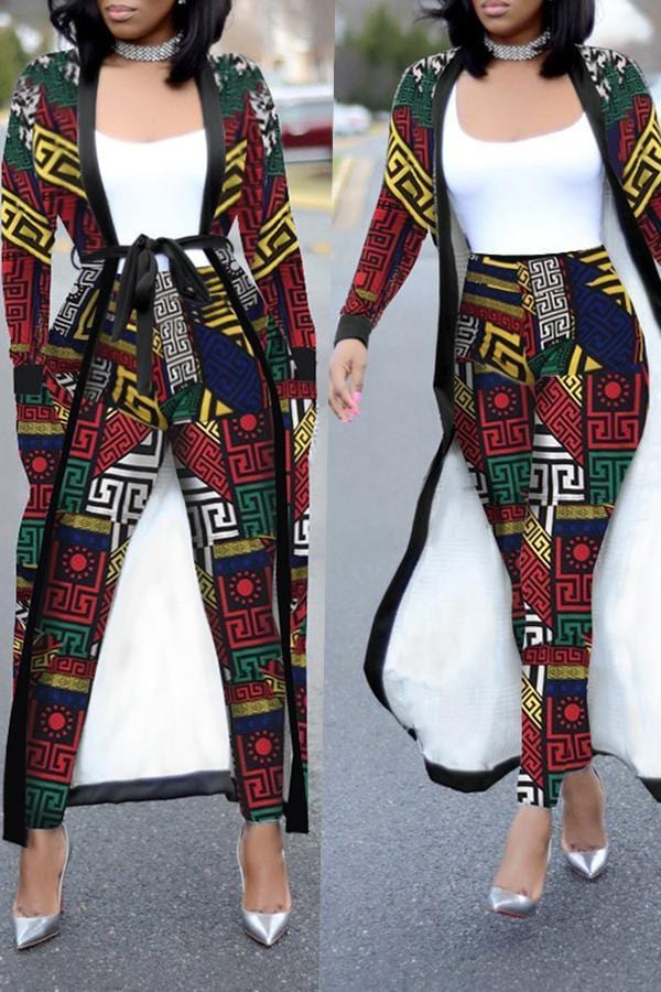 Casual Geometric Printed  Pants Set - VogueRegion