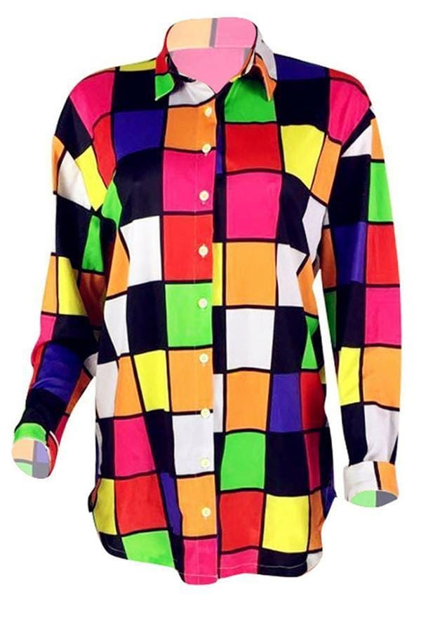 Patchwork Multicolor Mini Shirt Dress - VogueRegion